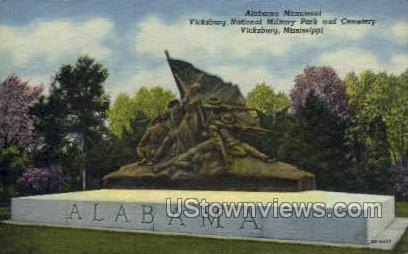 Alabama Monument  - Vicksburg, Mississippi MS Postcard