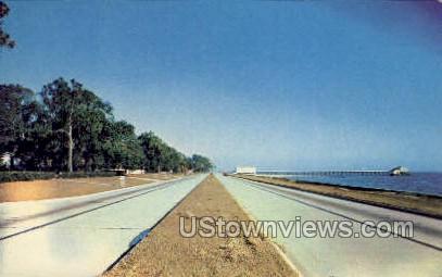 Beautiful Double Drive Along Mississippi Gulf Coast  - Highway US 90 Postcard