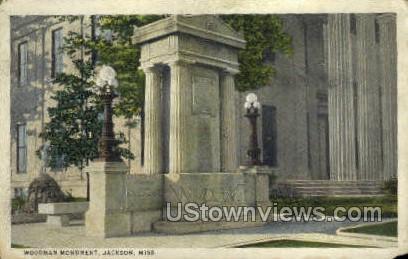 Wooden Monument - Jackson, Mississippi MS Postcard