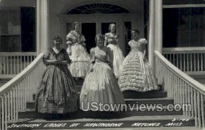 Southern Ladies At Hawthorne  - Real Photo - Natchez, Mississippi MS Postcard