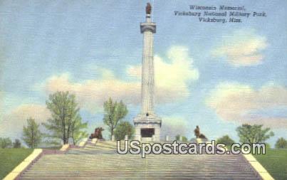 Wisconsin Memorial - Vicksburg, Mississippi MS Postcard