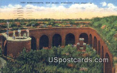 Fort Massachusetts, Ship Island - Mississippi Gulf Coast Postcards, Mississippi MS Postcard
