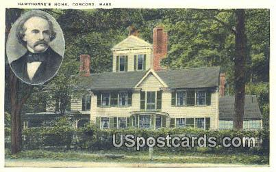 Hawthorne's Home - Concord, Mississippi MS Postcard