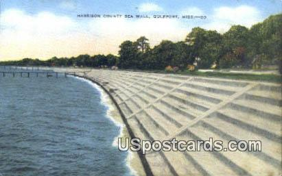 Harrison County Sea Wall - Gulfport, Mississippi MS Postcard