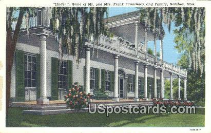 Home of Mr & Mrs Frank Fautleroy - Natchez, Mississippi MS Postcard