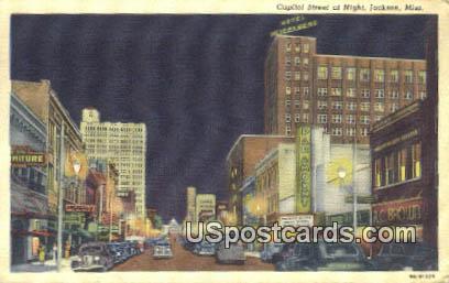 Capitol Street - Jackson, Mississippi MS Postcard
