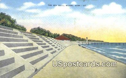 Sea Wall - Biloxi, Mississippi MS Postcard