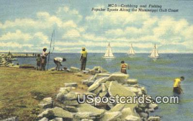 Crabbing & Fishing - Mississippi Gulf Coast Postcards, Mississippi MS Postcard