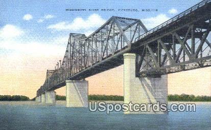 Mississippi River Bridge - Vicksburg Postcard