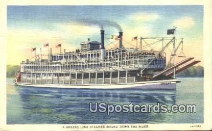 Greene Line Steamer Bound - Mississippi River Postcards, Mississippi MS Postcard