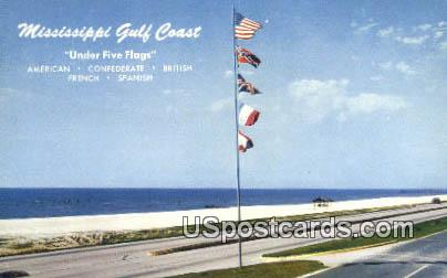 Flags of Five Nations - Mississippi Gulf Coast Postcards, Mississippi MS Postcard