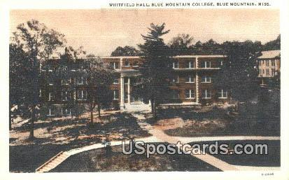 Whitfield Hall, Blue Mountain College - Mississippi MS Postcard