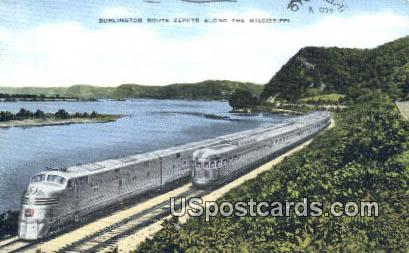 Burlington Route Zephyr - Mississippi MS Postcard