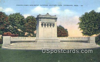 Penn Monument, National Military Park - Vicksburg, Mississippi MS Postcard