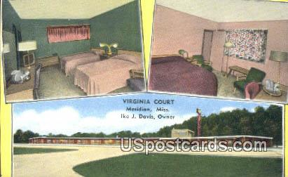 Virginia Court - Meridian, Mississippi MS Postcard