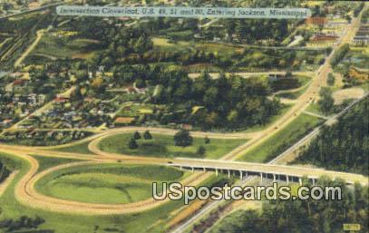 Intersection Cloverleaf - Jackson, Mississippi MS Postcard