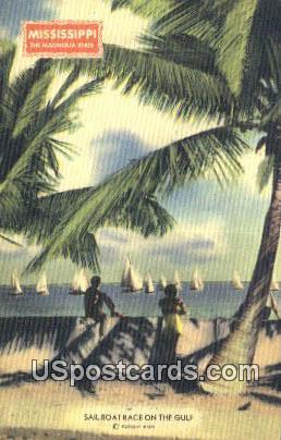 Sail Boat Race - Mississippi Gulf Coast Postcards, Mississippi MS Postcard