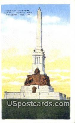 Mississippi Monument, National Military Park - Vicksburg Postcard