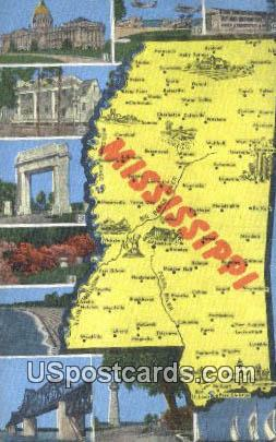 Greetings from Mississippi, Postcard       ;       Greetings from MS,