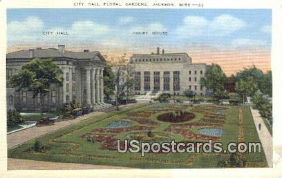 City Hall Floral Gardens - Jackson, Mississippi MS Postcard