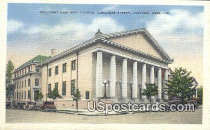 Galloway Memorial Church - Jackson, Mississippi MS Postcard