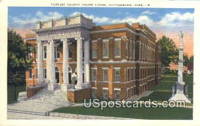 Forrest County Court House - Hattiesburg, Mississippi MS Postcard
