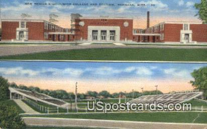 New Senior High Junior College & Stadium - Meridian, Mississippi MS Postcard