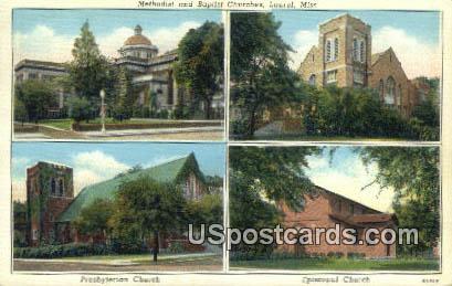 Methodist & Baptist Churches - Laurel, Mississippi MS Postcard