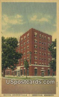 Hotel Greenville - Mississippi MS Postcard