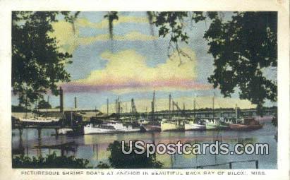 Shrimp Boats, Back Bay - Biloxi, Mississippi MS Postcard