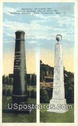 Surrender Monument, National Military Park - Vicksburg, Mississippi MS Postcard