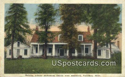Briers, Jefferson Davis was Married - Natchez, Mississippi MS Postcard