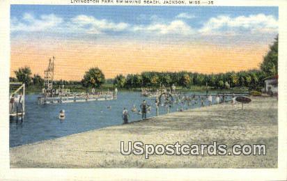 Livingston Park Swimming Beach - Jackson, Mississippi MS Postcard