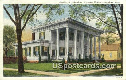 Columbus Homes - Mississippi MS Postcard