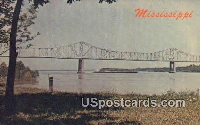 Mississippi River & Bridge - Greenville Postcard