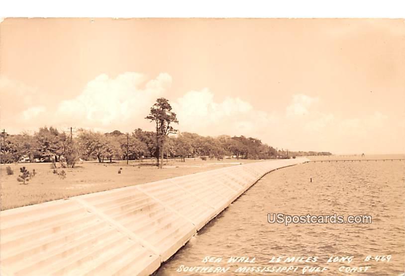 Sea Wall - Southern Mississippi Gulf Coast Postcards, Mississippi MS Postcard