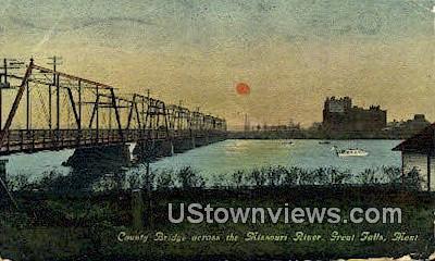 County Bridge, Missouri River - Great Falls, Montana MT Postcard