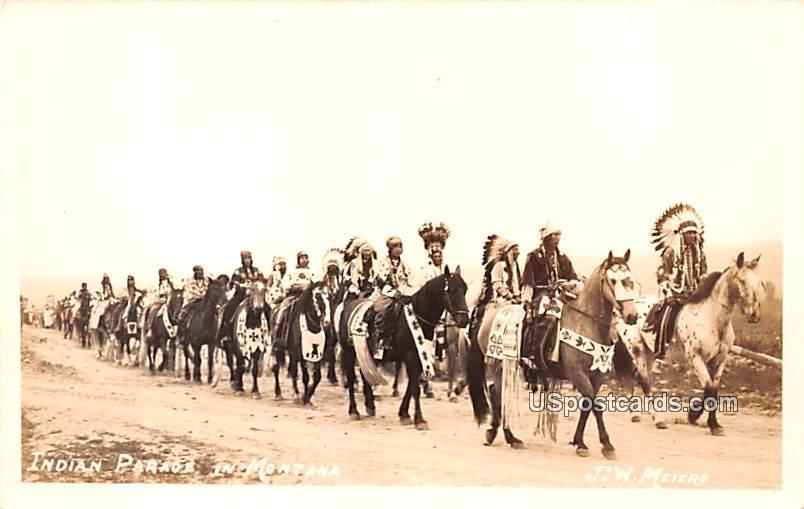 Indian Parade - Blackfeet, Montana MT Postcard