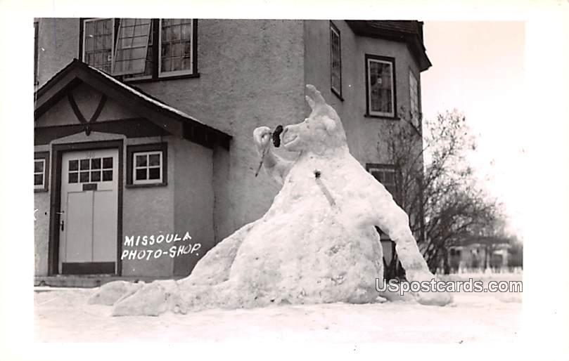 Snow Sculpture - Missoula, Montana MT Postcard