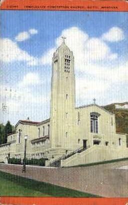 Immaculate Conception Church - Butte, Montana MT Postcard