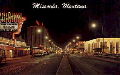 Night Scene - Missoula, Montana MT Postcard