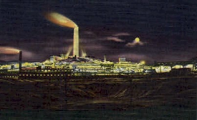 A.C.M. Co. Smelter at Night - Anaconda, Montana MT Postcard