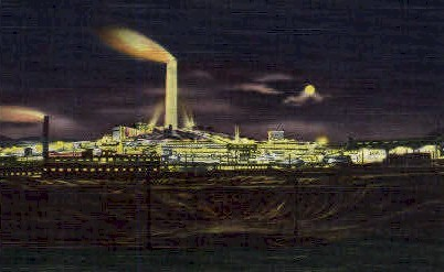 A.C.M. Co. Smelter at Night - Anaconda, Montana MT Postcard