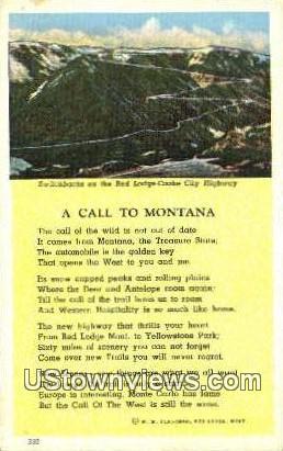 Switchbacks, Red Lodge - Misc, Montana MT Postcard