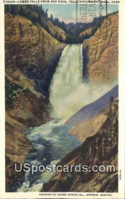 Lower Falls, Red Rock - Yellowstone National Park, Montana MT Postcard