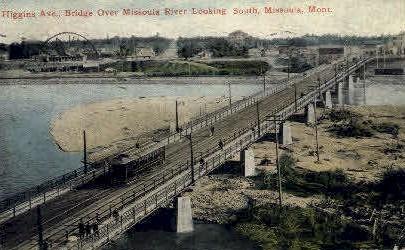 Higgins Ave. Bridge - Missoula, Montana MT Postcard