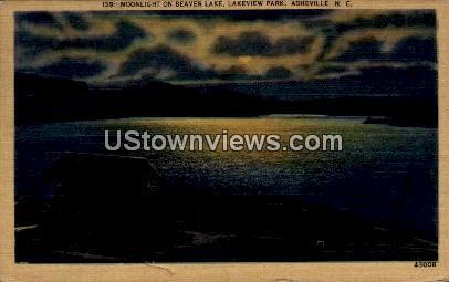 Moonlight on Beaver Lake - Asheville, North Carolina NC Postcard