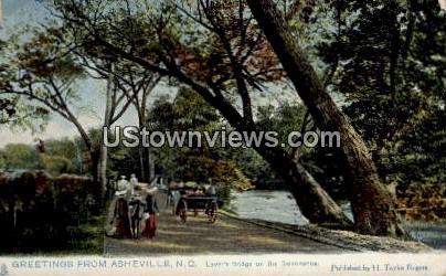 Lover's Bridge on the Swannanoa - Asheville, North Carolina NC Postcard