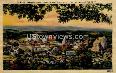 Picturesque Sunset View - Asheville, North Carolina NC Postcard