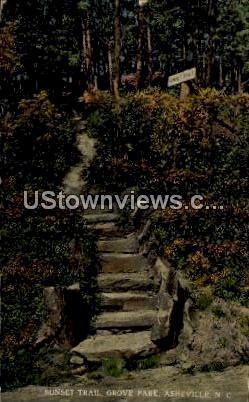Sunset Trail, Grove Park - Asheville, North Carolina NC Postcard